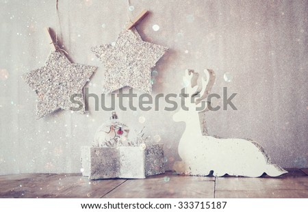 Image White Wooden Reindeer Stars Hanging Stock Photo Edit Now