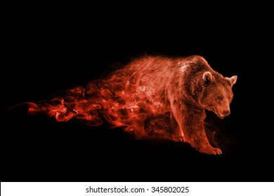 Image of a wild bear,  animal wallpaper collection, canadian wildlife, tattoo, digital manipulation, beautiful image of a walking bear coming out of the smoke, animal kingdom