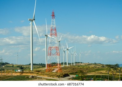 Image of wind turbine for produce wind energy with blue sky