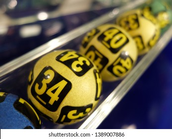 Image of winning lottery balls during extraction of the winning numbers.