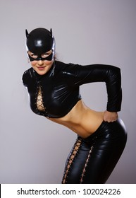 Image of woman in catwoman suit