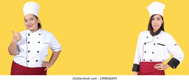 image of woman in chef uniform and white background