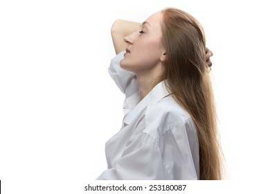 Image of woman with closed eyes on white background, profile