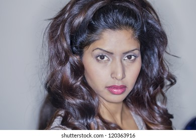 Image of woman face with serious look