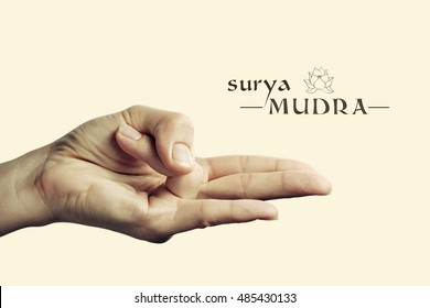 Image of woman hand in Surya mudra. Gesture is  isolated on toned background.
