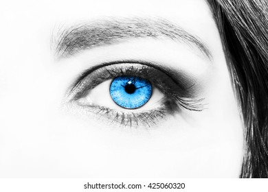 Image of woman's eye with time concept