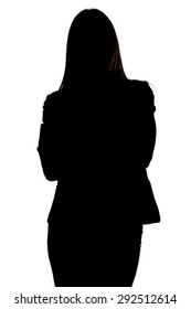 Image of woman's silhouette with arms crossed on white background
