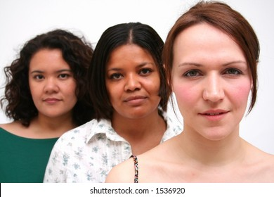 image of women of different race and background 0 white woman leading the group