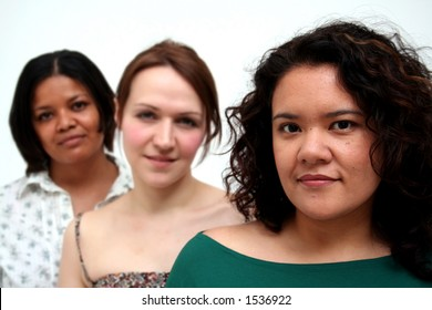 image of women of different race and background - Latin American woman leading the group