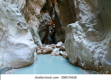 Image of a wonderful gorge passing through the mountains in the Dalaman region of Turkey showing rock formations