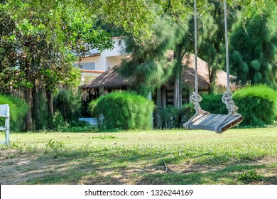 Image of wooden swing under the tree in the garden