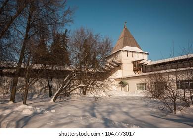 Image of Yaroslavl Kremlin in  snow in winter, Russia
