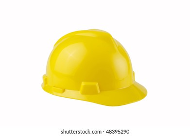 Image of a yellow construction hard hat on white background