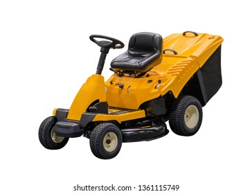 image of yellow motorized lawn mower isolated on white background