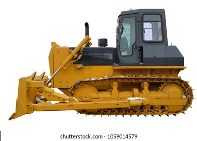 The image of a yellow tractor. Crawler bulldozer.  Isolated on white.