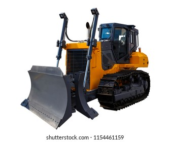 The image of yellow tractor. Crawler bulldozer. Isolated on white.
