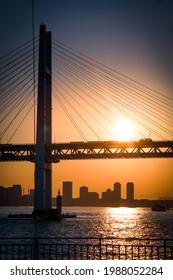 Image of Yokohama Baybridge and sunset view