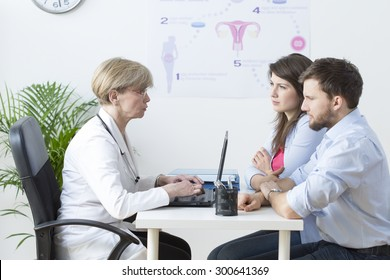 Image of young couple visiting a gynecologist