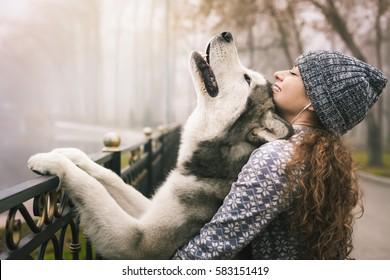 年轻女孩与她的狗,阿拉斯加 malamute,户外在秋季或冬季的形象。 家用宠物。 赫斯基