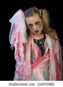 The image of a young girl on Halloween