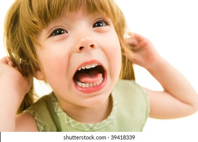 Image of young girl screaming on a white background