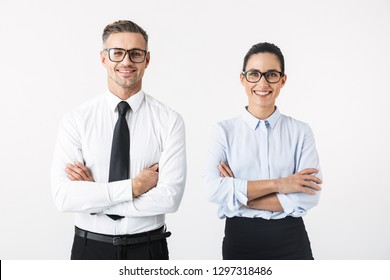 Image of young happy business colleagues couple isolated over white wall background.