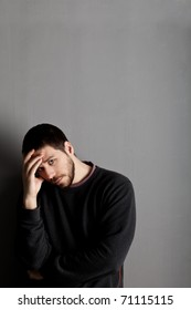 Image of young male person with lots of problems on his mind. Depression and modern stress life concept