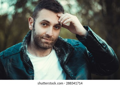 Image Young Man Black Leather Jacket Stock Photo Edit Now