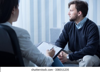 Image of young man during psychological therapy