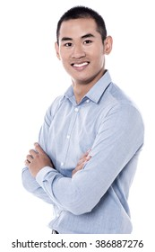 Image of young man isolated over white background