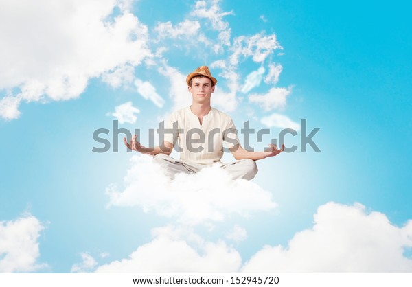 Image Young Man Sitting On Clouds Stock Photo Edit Now 152945720 .clouds = stardesign & derelict www.myspace.com/derelictpl solar stone; shutterstock
