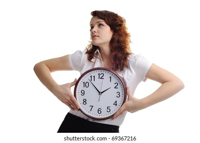 An image of a young woman with a clock