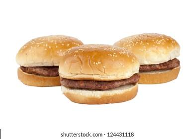 Image of yummy hamburger sandwiches isolated on a white background