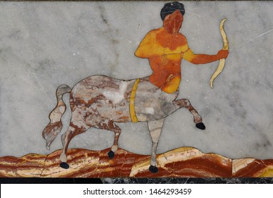 The image of the zodiac sign Centaur the Archer is a fragment of the Meridian line on the floor of the Palermo Cathedral, Palermo, Sicily, Italy.