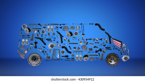 Images bus assembled from new auto parts. Cargo shop. Auto parts and spare parts