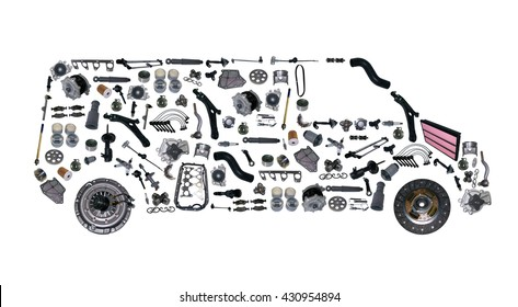 Images bus assembled from new spare parts. Cargo shop. For aftermarket and service