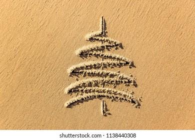 images christmas tree in the sand beach coastline closeup