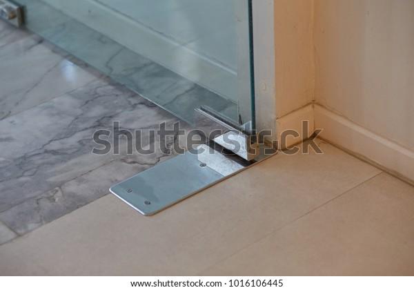 Images Frameless Glass Door Details Selective Stock Photo