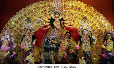 Images of Goddess Durga. Hindu Goddess Maa Durga. Navaratri celebration. Durga Puja is the one of the most famous festival celebrated in West Bengal and particularly in Kolkata, India.