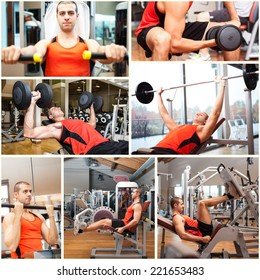 Images of a man working out in a fitness club
