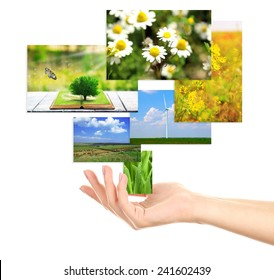 Images of nature objects in hand isolated on white