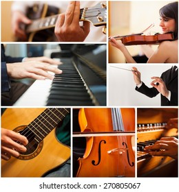 Images of people playing musical instrument