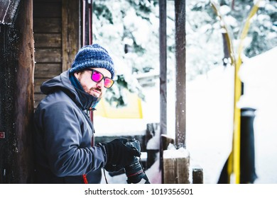 Images review after snow shooting at mountains