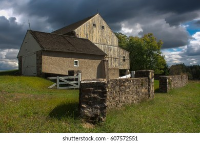 Images taken of Lord Stirling's Barn in Valley Forge National Park. There are very dark clouds due to the rain storm blowing across the Chester County (PA) area.