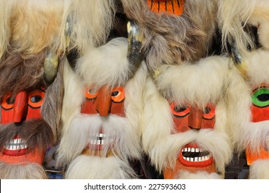 Images of traditional Romanian wooden masks.