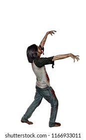 Images of zombie man with blood posing isolated over white background