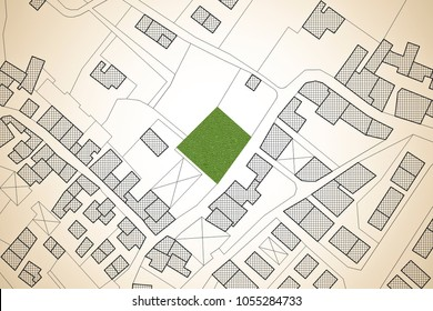 Imaginary cadastral map of territory with a free green land available for building construction. Concept image