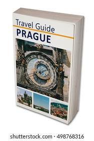 Imaginary travel book Prague. Isolated on white.