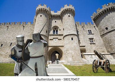 Imaginary view of the Palace of Grand Master of the Knights of Rhodes in the past, Rhodes, Greece