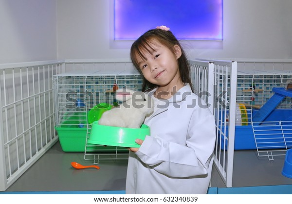 Imagination of children.Children and learning.The child is playing as a doctor.